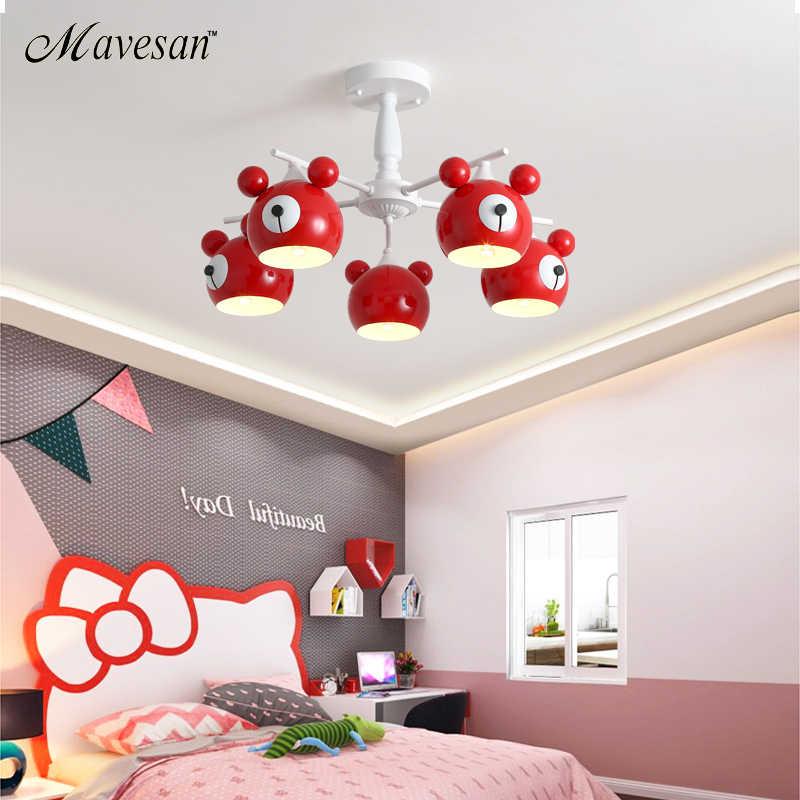 Żyrandole do salonu niedźwiedź lampa 3/5/6 głowice oświetlenie domu dekoracyjne abażur pokoju dziecka dziecko z pilot zdalnego sterowania Lamp