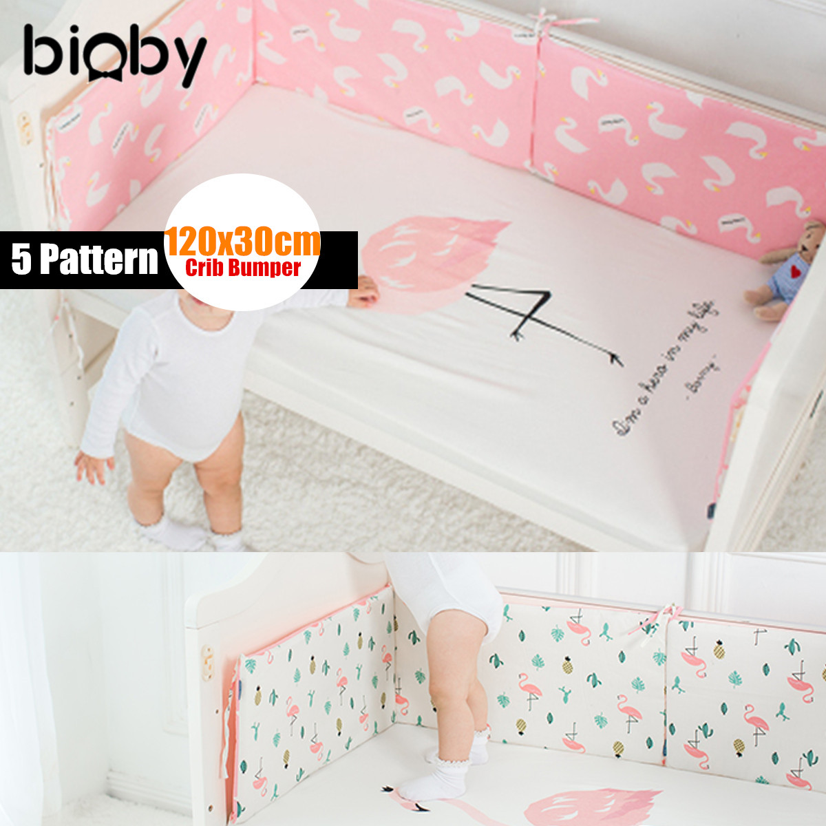 5 Type Infant Baby Toddler Crib Bumper Bed Protector Cushion Pad Nursery Bedding 120x30cm