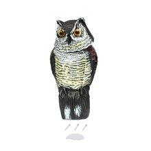 Señuelo de búho realista con cabeza giratoria protección de jardín repelente de plagas de aves espantapájaros señuelos de caza para cazador