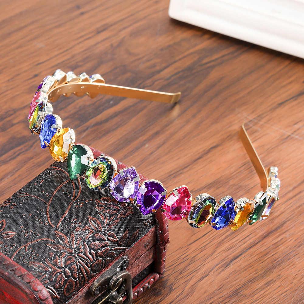 Haimeikang Rhinestone BEZEL Baroque Headband เงินคริสตัล Hairband Sparkly สำหรับแฟชั่นผู้หญิงอุปกรณ์เสริมผม