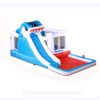 Water spray slide large trampoline slide water park naughty castle toy climbing wall with pool