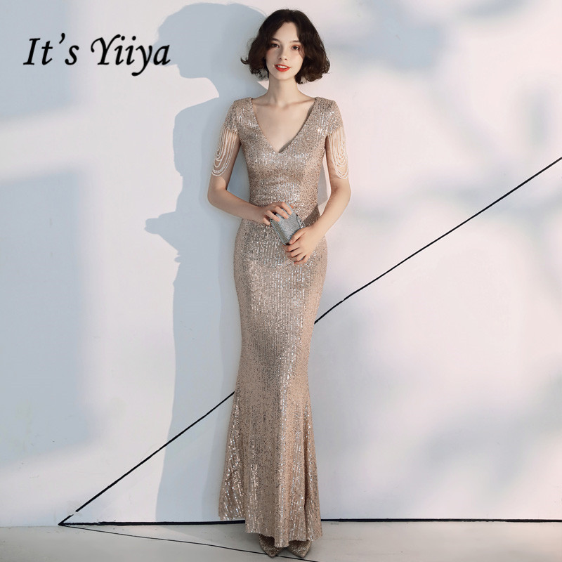 It's Yiiya Evening Dresses Champagne Sequined Shining Beading Evening Gown Ankle Length Mermaid Formal Drees Robe De Soiree K051