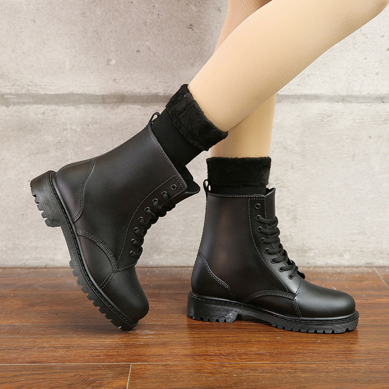 Image 5 - Women's Fashion Rainboots Waterproof Shoes Woman Mud Water Shoes Rubber Lace Up PVC Ankle Boots Sewing Rain Boots plus size 44-in Ankle Boots from Shoes