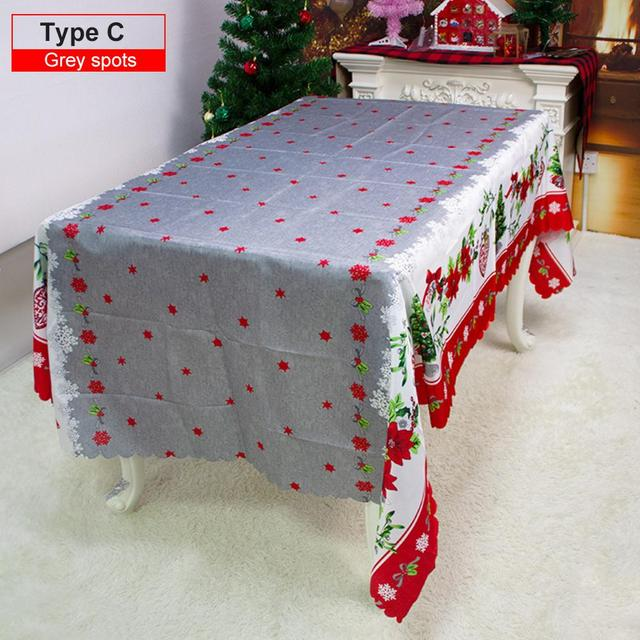 150x220 cm Rectangle Christmas Decorative Snowflakes Design Water and oil proof Red Tablecloths for Home Kitchen Dinner Party 2