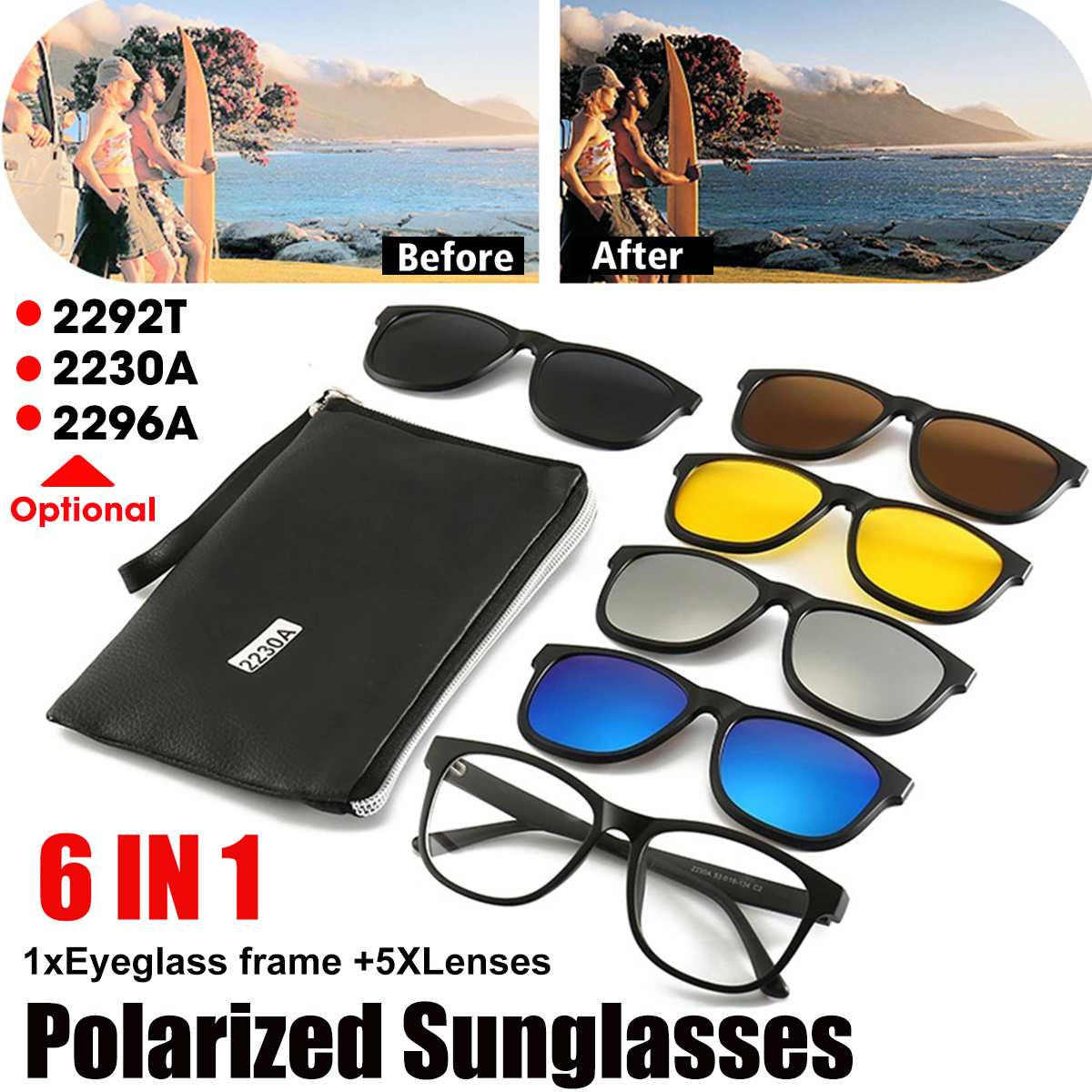 <font><b>6</b></font> <font><b>in</b></font> <font><b>1</b></font> Clip On <font><b>Sunglasses</b></font> with Polarized Mirror Flat Night Vision Magnetic Lens Clips Optical Myopia Glasses 2292T/2230A/2296A image