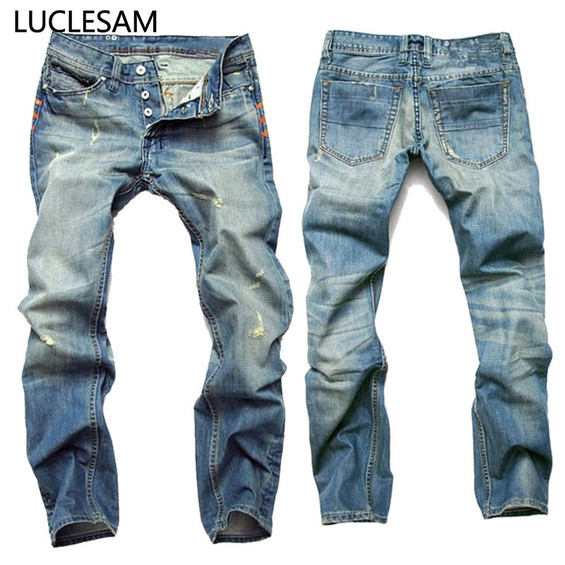 Mens Straight Printed Ripped Jeans Slim fit Distressed Jeans for Men Designer Destroyed Hole Trousers Casual Biker Denim Jeans42