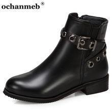 Botines bajos de talla pequeña para mujer, botas de calle Punk con correa y hebilla, zapatos de tacón bajo de talla grande 14 48, 32 y 33