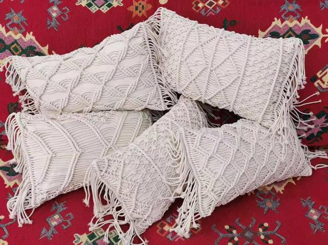 Macrame Handmade Rectangle Cushion 3