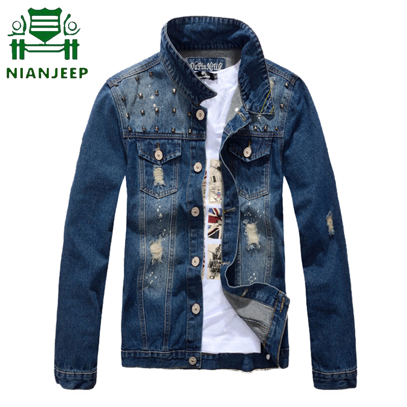 Denim Jackets Clothing Jean Jaqueta Male Solid-Color Men's Casual Cowboy-Fashion-Brand