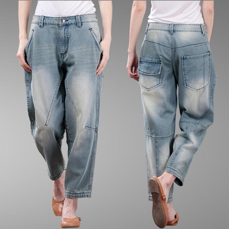 Loose Vintage Woman Jeans Autumn Bleached Casual Boyfriend Denim Oversize Cotton Loose Harem Ankle Length High Waist Jeans