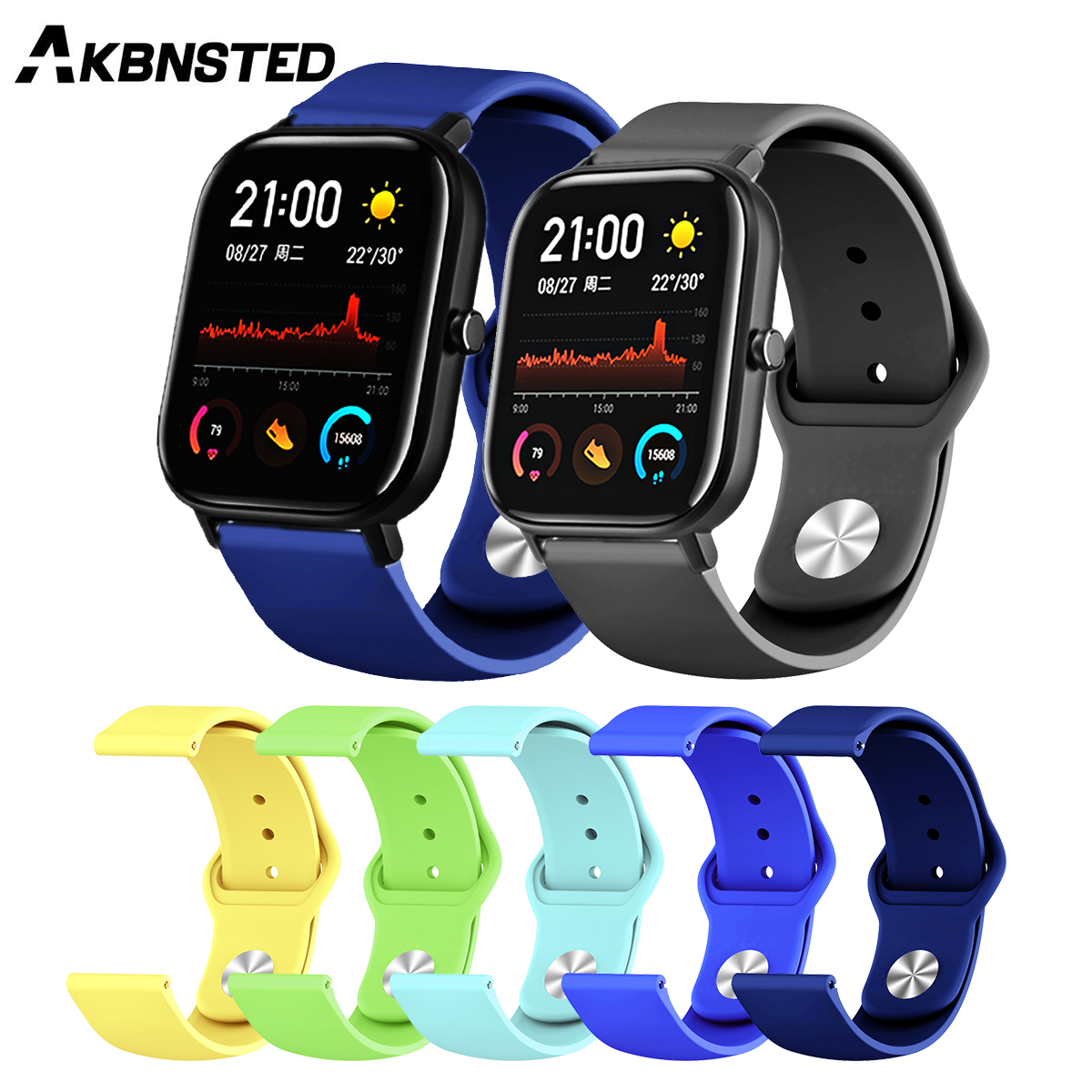 AKBNSTED 20/22MM Colorful Silicone Smart Watch Band For Xiaomi Huami Amazfit GTS/GTR 47/42MM/Bip Wristband Replace Accessories