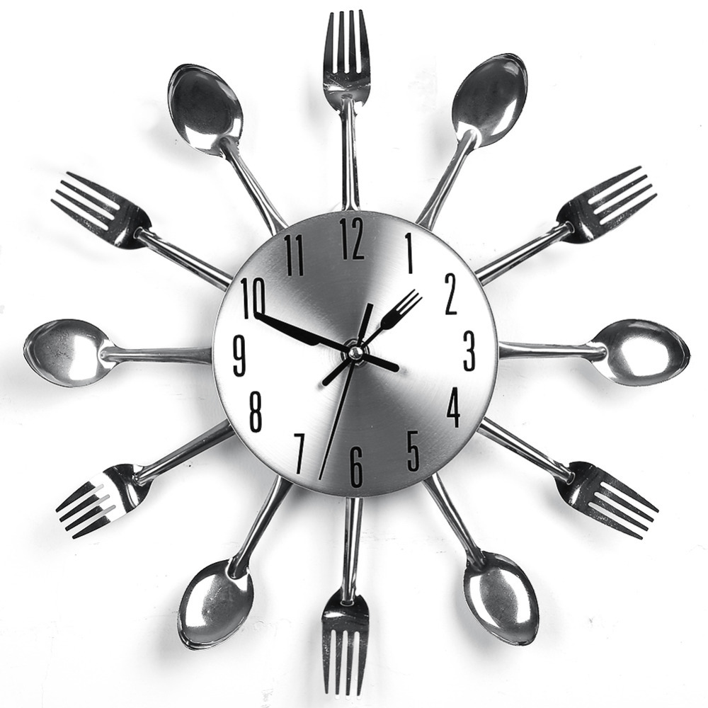 Modern Design Silver Wall Clock Cutlery Kitchen Spoon Fork Saat