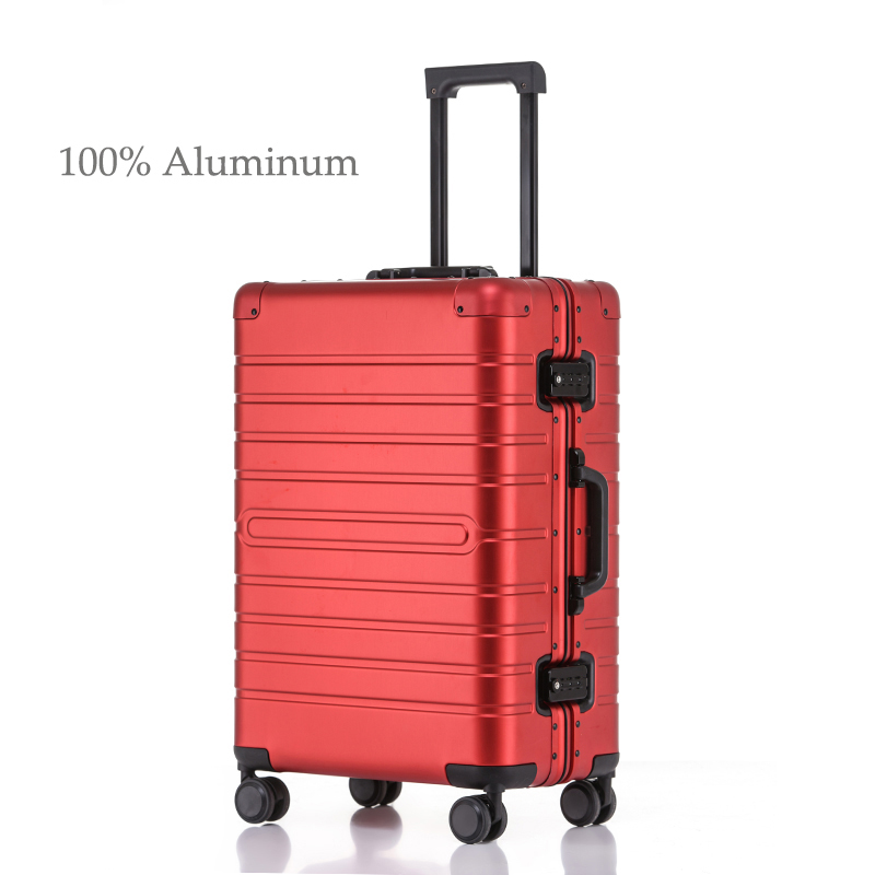 100% Aluminum Alloy Rolling Luggage Travel Suitcase On Wheels Silver Red Carry-Ons Cabin Suitcase Trolley Luggage Fashion 20''