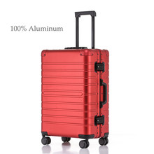 100% Aluminium Rolling reisbagage koffer op wielen Zilver rood Handbagage cabine koffer trolley bagage mode 20''(China)
