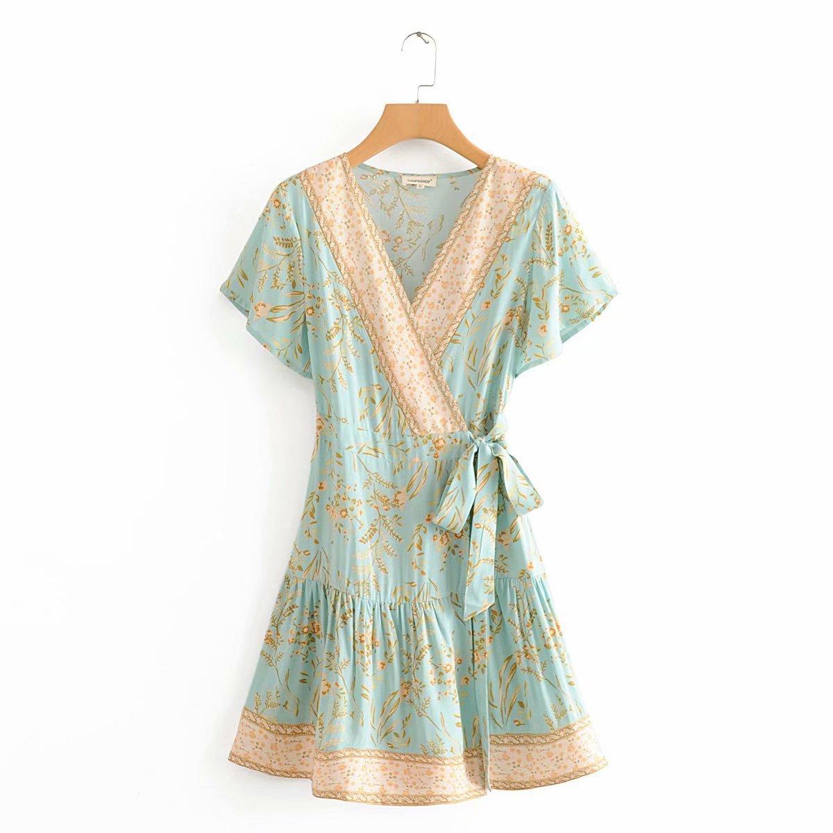 2020 New Spring Summer European Rice Positioning Printed Wrap Zaraing Women Dress Vadiming Sheining Female Dress DFJ9080