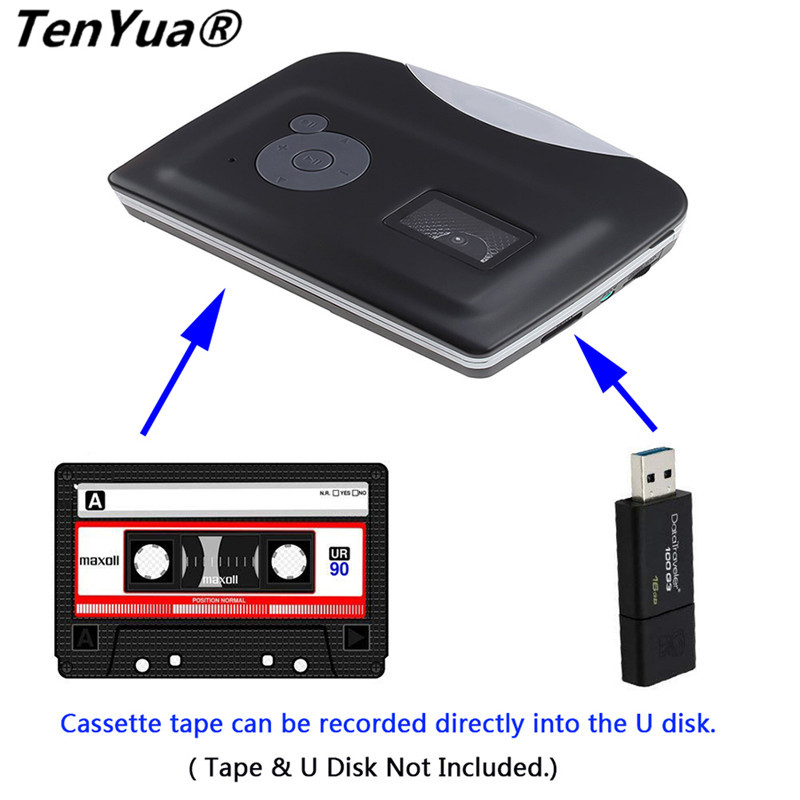 Ezcap USB Cassette Capture Cassette Tape-to-MP3 Converter Into Computer Stereo HiFi Sound Quality Mega Bass