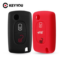 KEYYOU 2/3 Button For Citroen Xsara Picasso C2 C3 C4 C5 C6 C8 For Peugeot 107 206 207 307 308 406 Silicone Key Cover Case Fob
