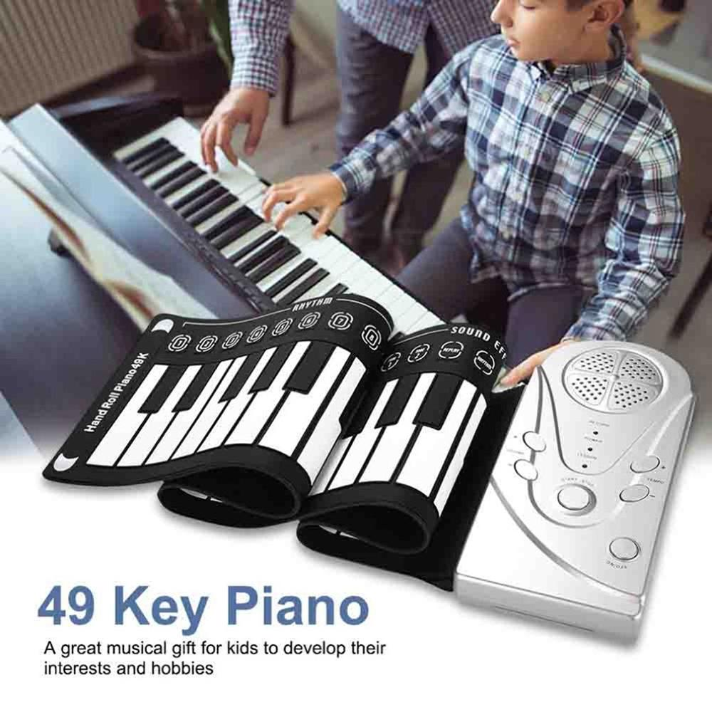 Portable 49 Keys Digital Keyboard Hand Roll Piano Silicone Electric Children's Beginner Electronic Piano