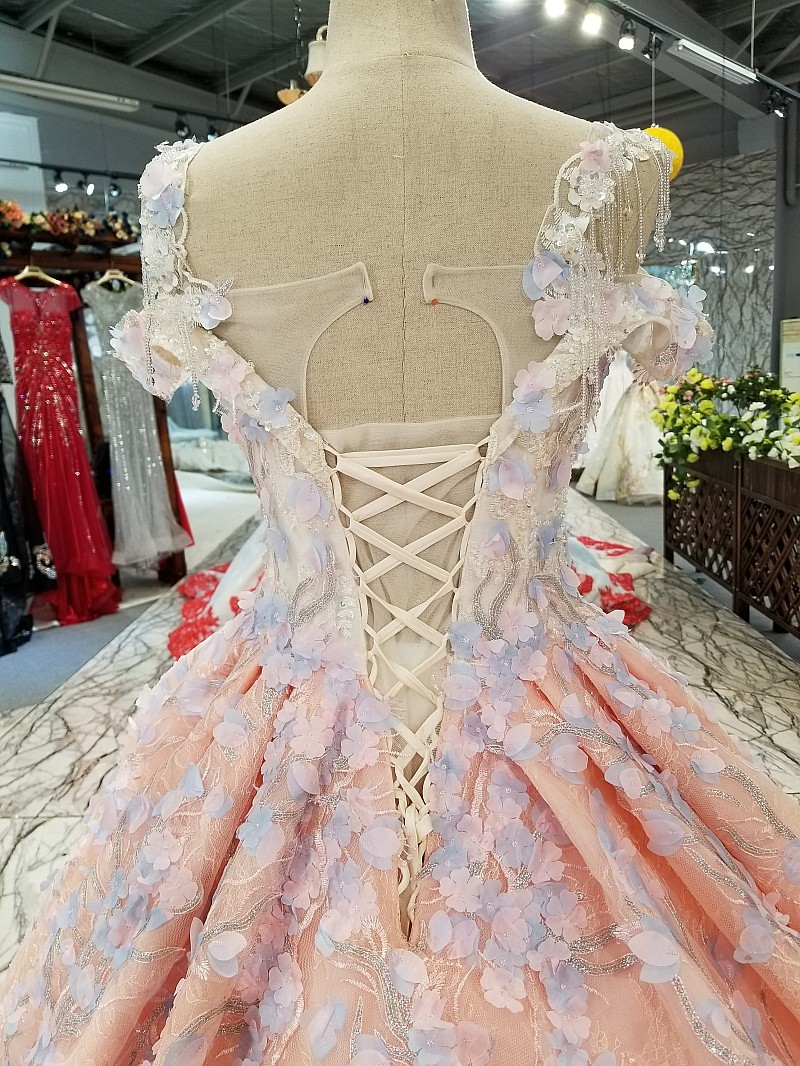 Image 5 - BGW 3229ht Pink Evening Dress 2020 With Light Purple Flowers Big O neck Sexy Spaghetti Strap Ball Gown Party Dress Free ShippingEvening Dresses   -