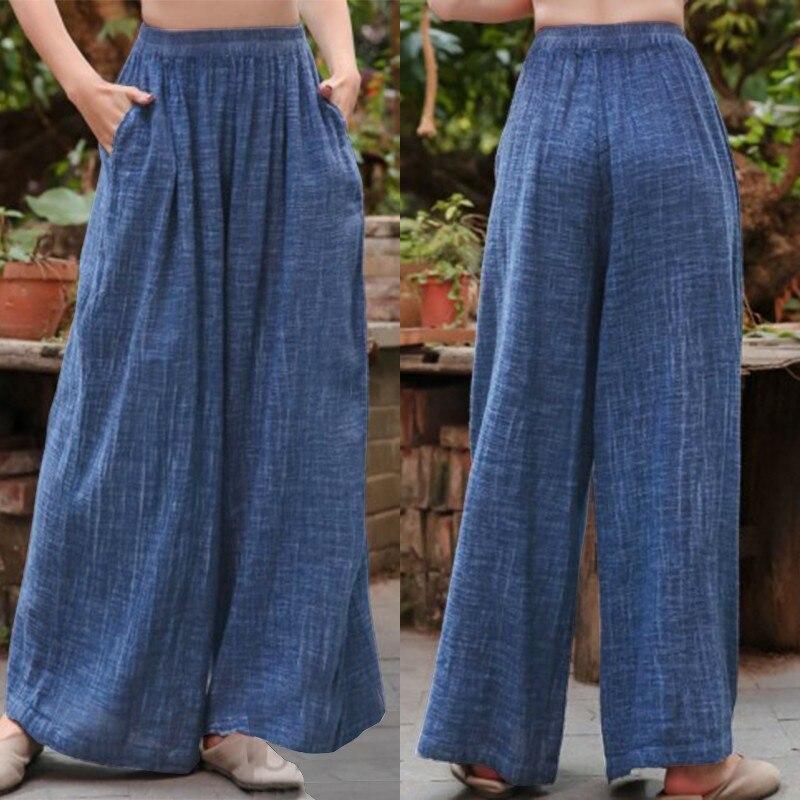 Plus Size Women's Wide Leg Pants ZANZEA Casual Elastic Waist Long Pantalon Palazzo Fashion Summer Trousers Female Solid Turnip