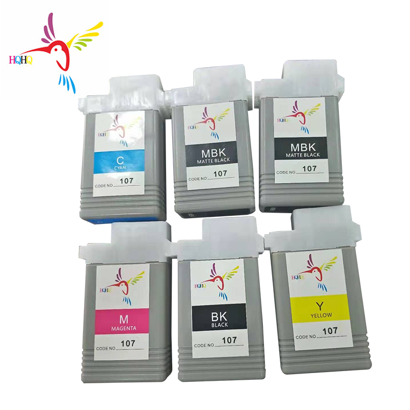 For Canon iPF670/ iPF680/iPF685/iPF770/iPF780/iPF785 printer 130ml 6pcs/set PFI107 Ink Cartridge with Dye ink and chip Ink Refill Kits     - title=