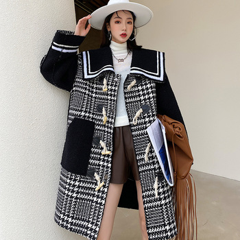 Winter Luxury Long Black White Houndstooth Wool Blends Jackets Women Loose Spliced Coat Fashion Street Outerwear Single Breasted fashion women wool coat plaid classics female loose long single breasted coats 2020 autumn winter jackets trench outerwear