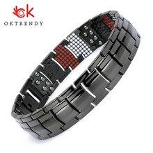 100% pure titanium magnetic bracelet pulseira masculina corrente preta hematite saúde energia pulseira para a mulher benefícios