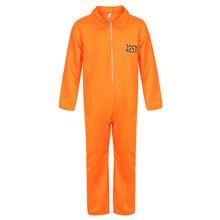 Homens Traje Do Prisioneiro Prisioneiro Fugitivo Prisioneiro Halloween Trajes Cosplay Unissex Macacão Laranja Prisão Criminal Dress Up
