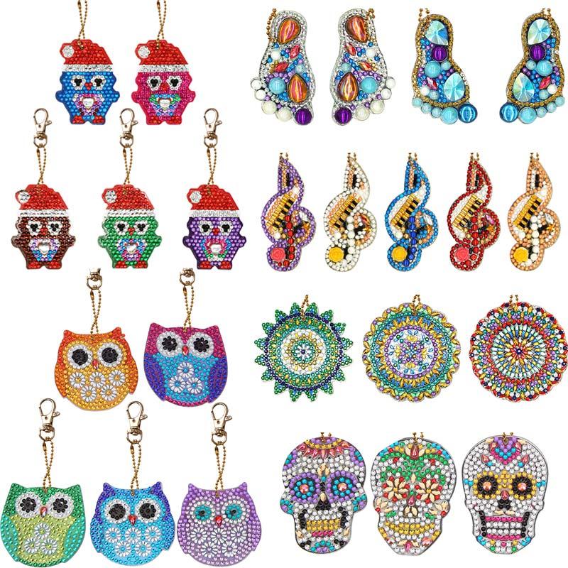 4/5pcs DIY Full Drill Special Diamond Painting Keychain Cartoon Owl Cake Women Bag Pendant Keychains Jewelry Key Ring Gifts