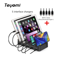 Teyomi 5 Ports USB Charging Station Dock with Holder 30W 3A Desktop USB Charger for Mobile Phone Tablet Charging Dock Organizer