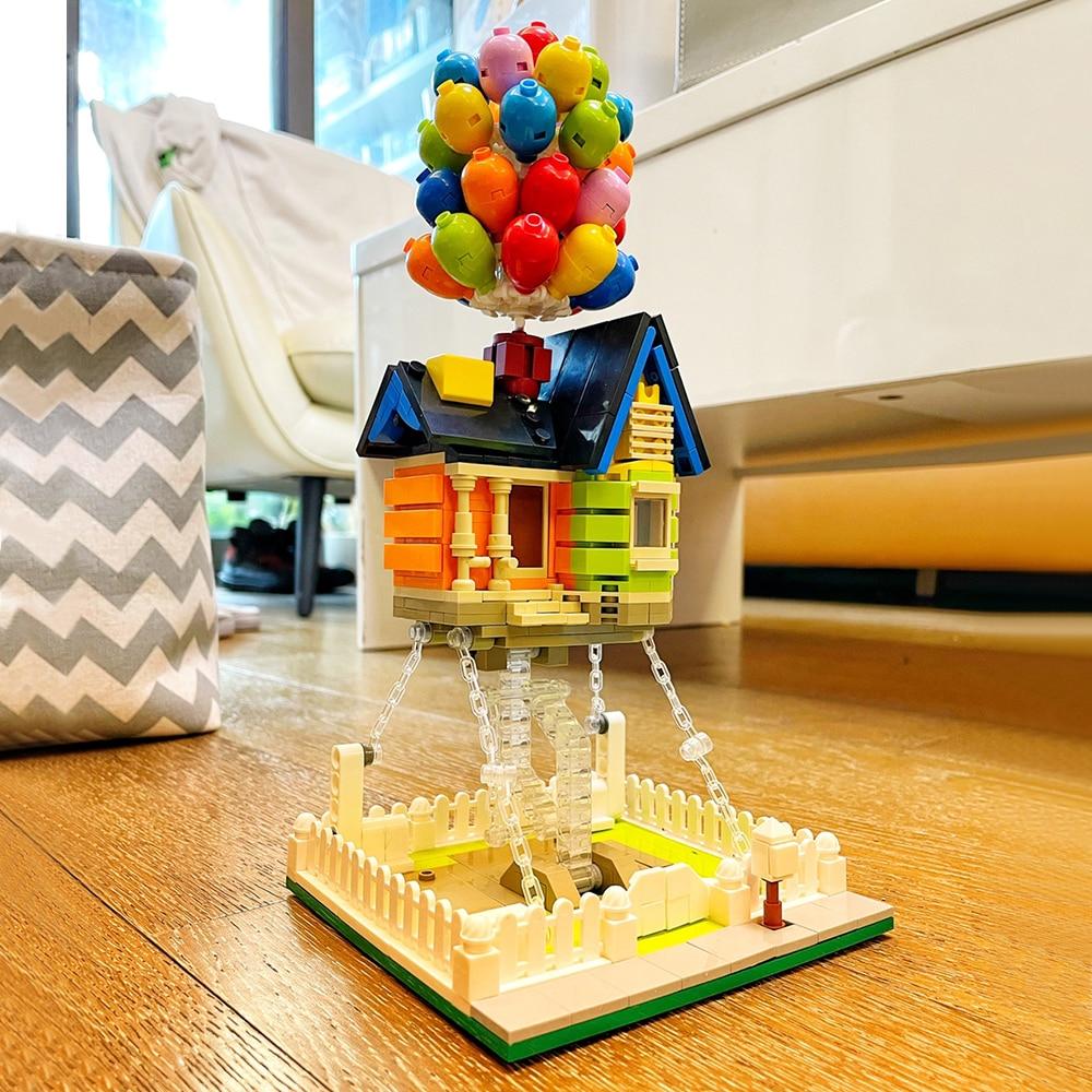 Идеи создатель эксперт в виде улиц анимации Летающий воздушный шар модульный дом, Мпц кирпич 555 шт. модель строительные блоки друзей детские...