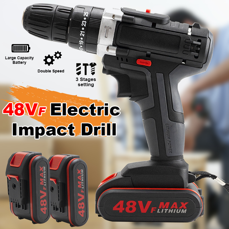 Home Electric Battery Cordless Speed Mini Drill Drill 2 Set Impact 48VF LED With Drill Screwdriver Electric Wrench For