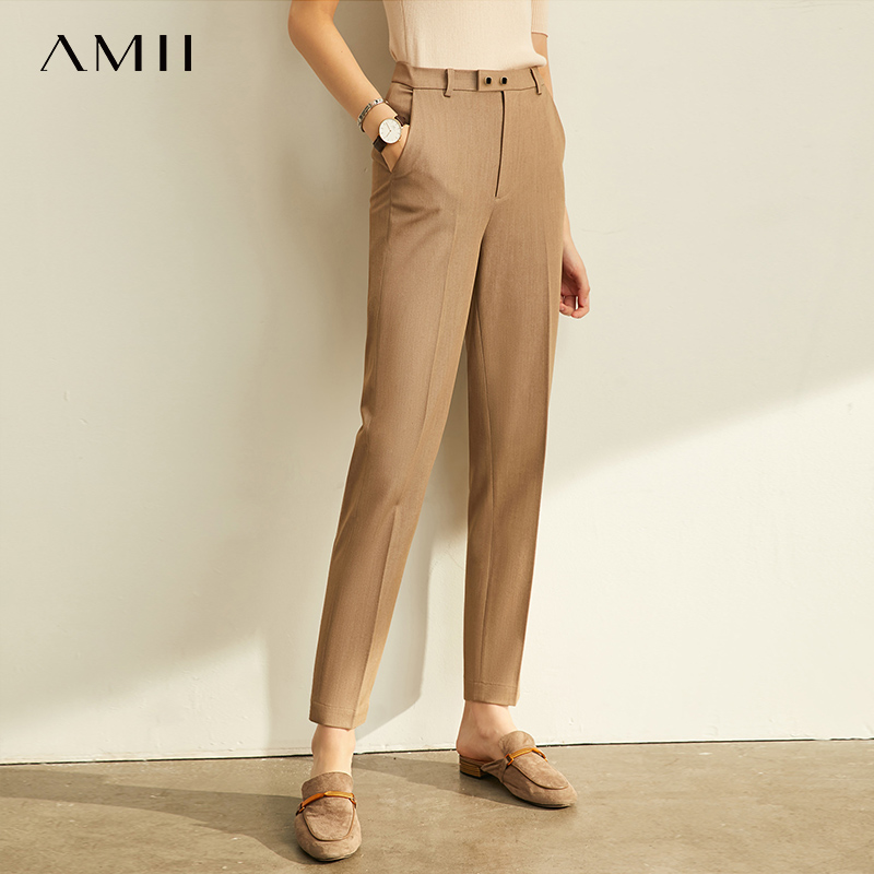 Female Trousers Spring-Pants Amii High-Waist Office Lady Fashion Women for 11960733 Solid