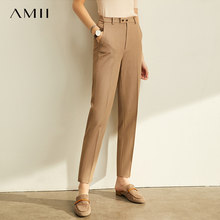 Amii Spring Spring Pants Female Office Lady Solid vita alta pantaloni femminili moda pantaloni dritti per donna 11960733