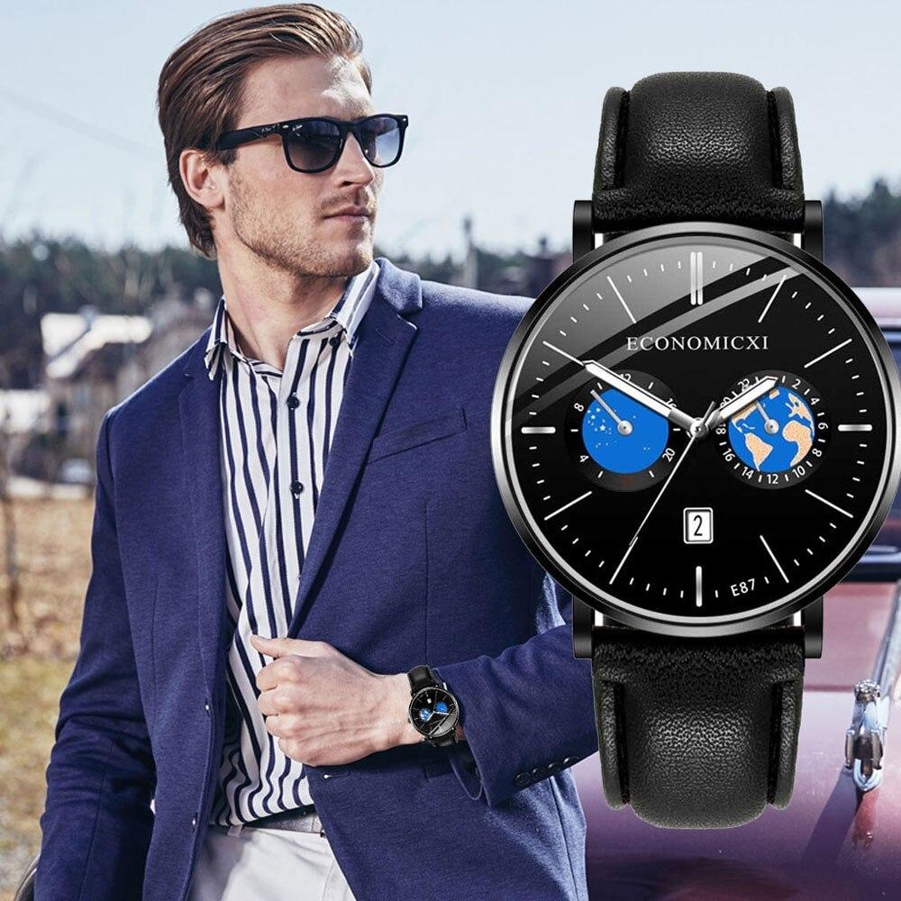 Men's Personality Casual Fashion Cartoon Leather Pin Buckle 30m Waterproof Three Eye Luminous Watch часы