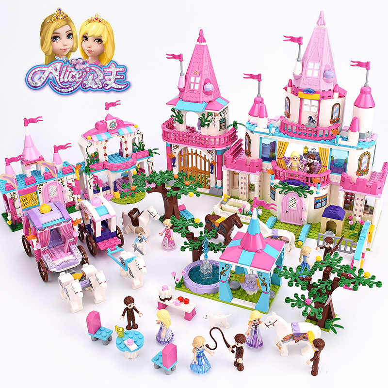 Girl Friends Alice Princess Sweet Castle Royal Stud-farm Royal Carriage Outing Training Legoed Model Building Blocks Toys