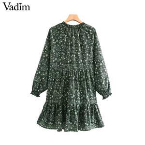 Image 2 - Vadim women chic floral pattern mini dress straight bow tie long sleeve female retro cute basic causal dresses QD075