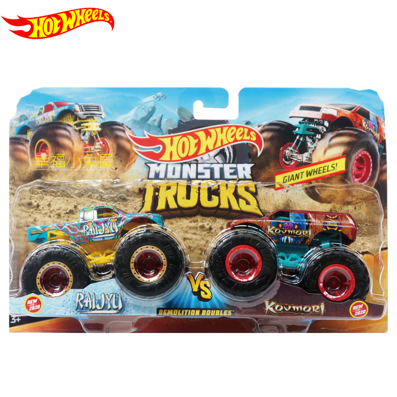 Original Hot Wheels Car for Boys 1:64 2PCS Monster Trucks Carro Hotwheels Car Toys for Boys Diecast Car Kid Toys Gift