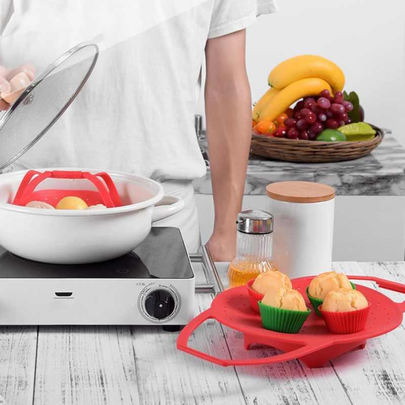 Пароварка Корзина с Wth ручкой Бытовая силиконовая телескопическая Пароварка портативная корзина складная Пароварка стойка для домашней кухни