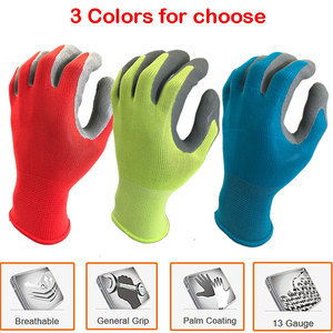 Image 5 - NMSafety Better Grip Ultra Thin Knit Latex Dip Nylon Red Latex Coated Work Gloves luvas de couro