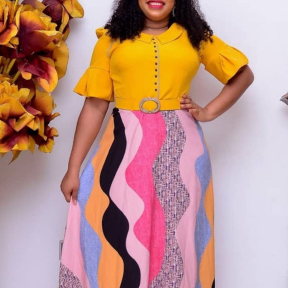 2021 African Oversize Long Printing Splicing Round Neck Women's Dress Western Style Loose Casual High Waist Summer