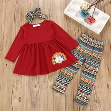 Autumn 1-6T Baby Girls Clothes 3pcs Adorable Cartoon Pattern Long Sleeve Tops Trousers With Headband Casual Outfits #m
