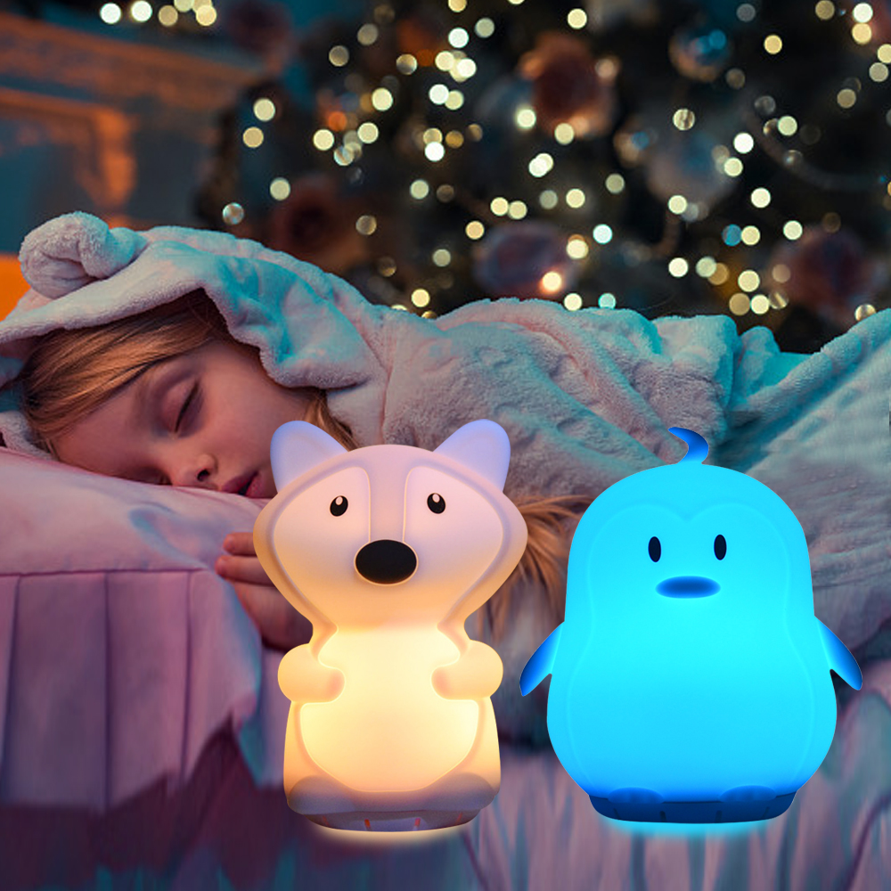 Fox Penguin Music Lamp Wireless Bluetooth Speaker Player USB Cartoon Silicone RGB LED Night Light For Children Kids Baby Gift