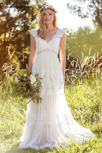 Image 2 - Vestido Novia Lace Bohemian Wedding Dresses 2020 V Neck Backless Illusion Country Mariage Gowns Sweep Train Simple Bride Dresses