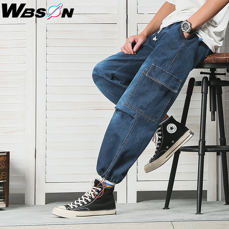 Wbson Hip Hop Side Pocket Fashion Cargo Jeans High Street Blue Denim Jeans Men Loose Straight Wide Leg Cargo Jeans Male NZK9121