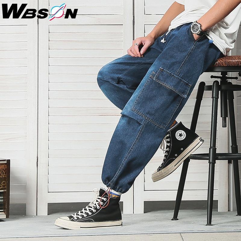 Wbson Hip Hop Side Pocket Fashion Cargo Jeans High Street Blue Denim Jeans Men Loose Straight Wide Leg Cargo Jeans Male NZK9121