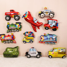 Cartoon Car Balloons Fire Truck Cars Train Foil Balloon Police Globos Children Plane Happy Birthday Party Decorations Kids balls(China)