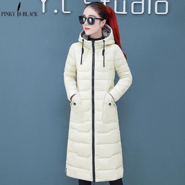 PinkyIsBlack جديد الثلوج الجانبين ارتداء طويلة الدافئة رشاقته الشتاء سترة المرأة مقنعين القطن مبطن ملابس خارجية للنساء معطف الشتاء
