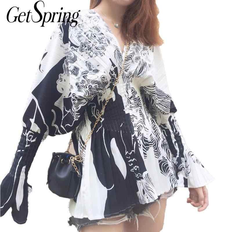 GetSpring נשים חולצה אלגנטי מודפס נשים חולצות קפלים ארוך שרוול V צוואר לבן חולצה גבירותיי חולצות אופנה מודפס חולצות