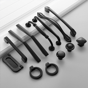 Handle Knobs Aluminum Black furniture Drawer Knob Door handles for cabinets and drawers Kitchen Pull Cupboard Furniture Cabinet